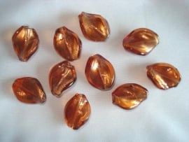 Zilverfolie glaskraal wokkel bruin
