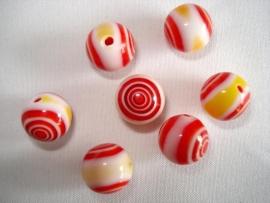 Millefiori glaskraal rond 8 mm rood