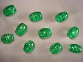 Glascrackle kraal ovaal smaragdgroen