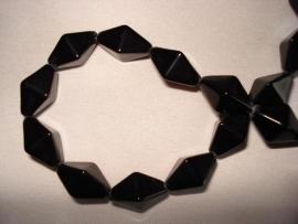 Facet glaskraal bicone langwerpig zwart