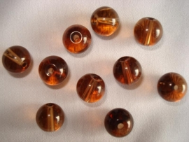 Glaskraal rond 6 mm bruin