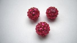 shamballa kraal 14 mm fuchsia roze