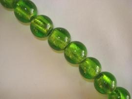 Streng zilverfolie glaskralen rond 14 mm limegroen (16 stuks)