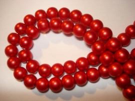 Matte glasparel rond 8 mm rood