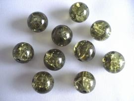 Glascrackle kraal rond 8 mm legergroen