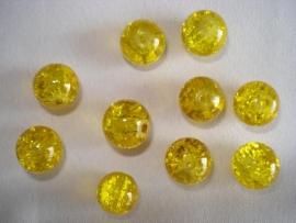 Glascrackle kraal rond 6 mm geel
