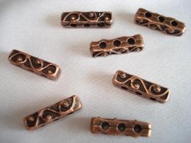 Metalen verdeler koperkleur met 3 gaten 18x5 mm