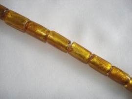 Streng zilverfolie glaskralen buis 15x10 mm goudbruin (12 stuks)