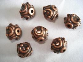 Metaallook kraal koperkleur ornament 15x12 mm