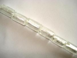 Streng zilverfolie glaskralen buis 15x10 mm wit (12 stuks)