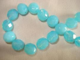 Facet glaskraal rond 8 mm turquoise opal
