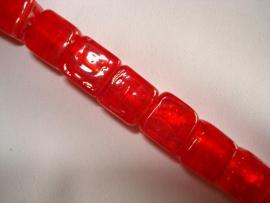 Streng zilverfolie glaskralen kubus 10 mm rood (12 stuks)