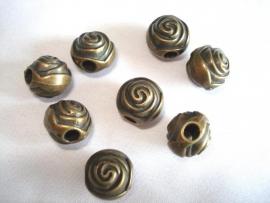 Metaallook kraal bronskleur roos 12 mm