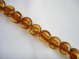 Streng zilverfolie glaskralen plat rond goudbruin (12 stuks)