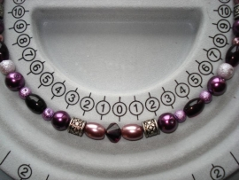 Zelfmaakpakket elastisch armbandje rijgen paarse tinten met zilver