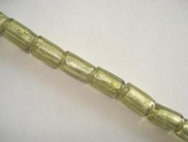 Streng zilverfolie glaskralen buis 15x10 mm licht olijfgroen (12 stuks)