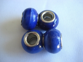 Pandora style kraal keramiek kobaltblauw