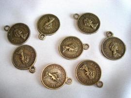 Metalen muntje bronskleur 15 mm