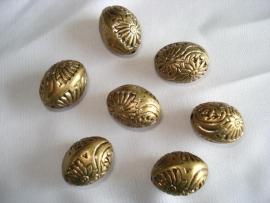 Metaallook kraal bronskleur eivorm 15x20 mm