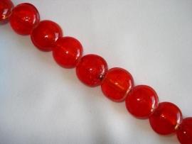 Streng zilverfolie glaskralen plat rond rood (12 stuks)