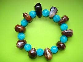 Armband aquablauw en bruin