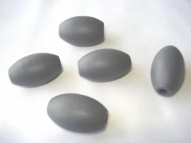 Houten kraal 16x28 mm olijfvorming donkergrijs