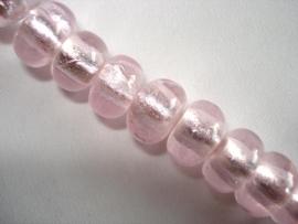 Streng zilverfolie glaskralen rondell lichtroze (12 stuks)