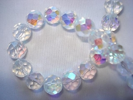 Facet glaskraal rond 12 mm crystal AB