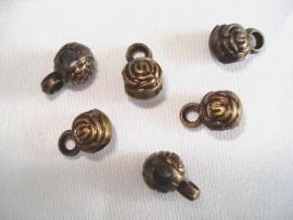Metaallook kraal bronskleur met oog