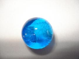 Zilverfolie glaskraal rond 16 mm aquablauw