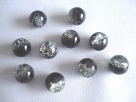 Glascrackle kraal rond 8 mm duo zwart met transparant
