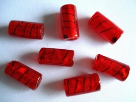 Zilverfolie glaskraal buis gestreept rood
