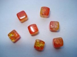 glascrackle kraal vierkant 6x6x6 mm duo rood geel