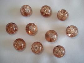 Glascrackle kraal rond 8 mm lichtbruin