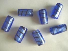 Ziverfolie glaskraal buis gestreept blauw