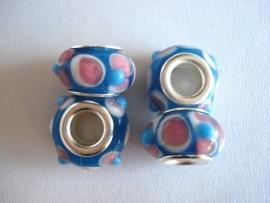 Pandora style kraal  blauw met roze/witte stippen