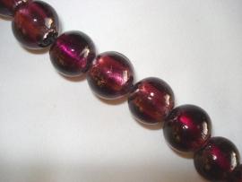 Streng zilverfolie glaskralen rond 14 mm paars (16 stuks)