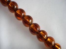Streng zilverfolie glaskralen rond 14 mm bruin (16 stuks)