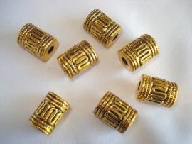 Metallook kraal goudkleur cilinder bewerkt 13x9 mm