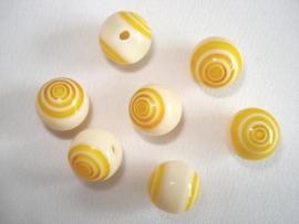 Millefiori glaskraal rond 10 mm geel