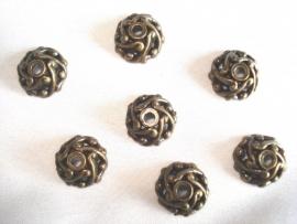 Metaallook kralenkapje bronskleur open