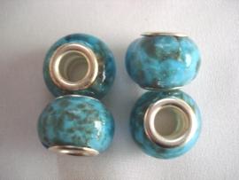 Pandora style kraal turquoise met gouden glittertjes