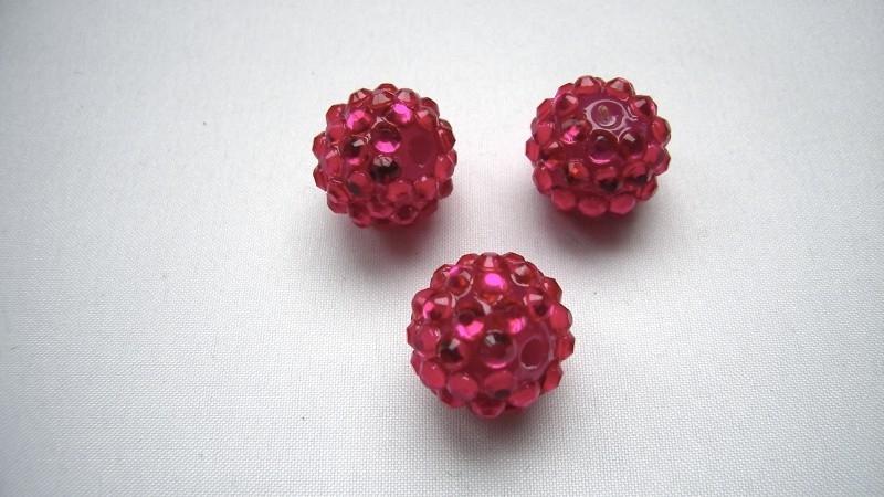 shamballa kraal 12 mm fuchsia roze