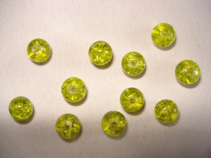 Glascrackle kraal rond 6 mm fel olijfgroen