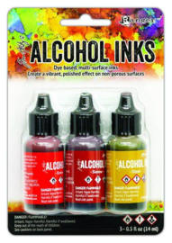 Ranger Alcohol Ink Ink Kits Orange/Yellow Spectrum 3x15 ml TAK69645 Tim Holtz