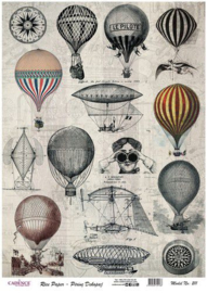 Cadence rijstpapier vintage luchtballonnen Model No: 211 40 x 30 cm