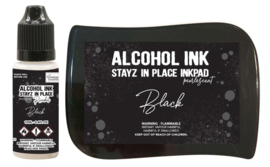 Couture Creations Stayz in Place Alcohol Ink Pearlescent Jet Black Pad+Reinker (CO728162)