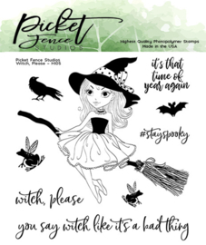 Picket Fence Studios Witch, Please Clear Stamps (H-105)