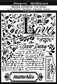 Stamperia Thick Stencil 20x25cm Dear Diary (KSTD059)