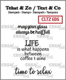 Crealies Clearstamp Tekst & Zo tekst Wine D (ENG) CLTZE05 max 32mm (10-18)
